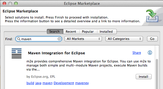 Screenshot of Eclipse Marketplace